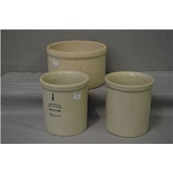 Two Medalta 1/2 gallon crocks and an unmarked crock