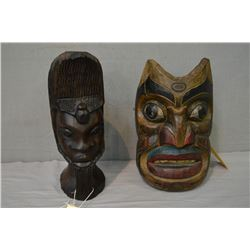 "Well executed unsigned hand carved Haida mask and a 13"" high carved ironwood head"