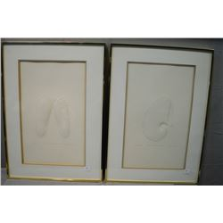 "Two framed limited edition shell motif paper embossed artworks including ""Paper Nautilus"" 69/275 and"
