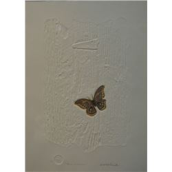 "Framed limited edition paper etching with embossing ""Mariposa de Ann Arbor"" 1/150 with COA and penci"