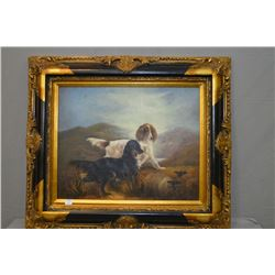 "Ornately framed oil on canvas painting of two spaniels, no signature seen, 15 1/2"" X 19 1/2"""