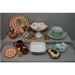 Selection of vintage china collectibles including Royal Winton candlestick and small vase, Wedgwood