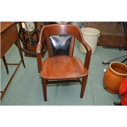 Antique open arm office chair with leather upholstered back