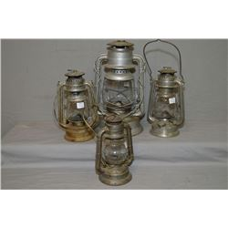 Four vintage barn lanterns including Dietz etc.