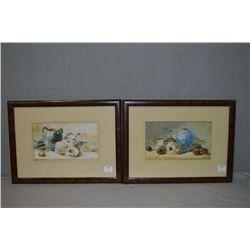 "Two original framed still-life watercolours both signed by artist HKR (?) 1920, both 5"" X 8"""