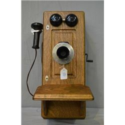 Antique quarter cut oak Northern Electric hand crank wall phone