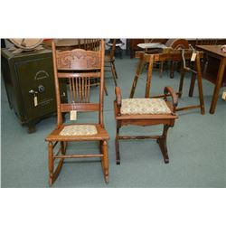 Canadiana pressed back nursing rocker and an unusual upholstered bench