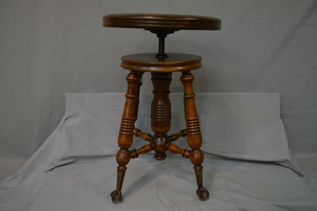 Antique Adjustable Piano Stool With Cast And Glass Ball