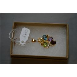 Ladies 10kt yellow gold and gemstone pendant on a 10kt gold chain