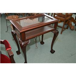 Chippendale style bevelled glass vitrine with ball and claw feet