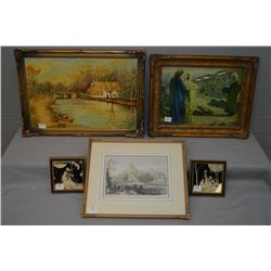 Selection of art work including framed oil on board painting of a riverside cottage signed by artist
