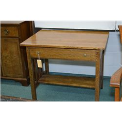 Mission style single drawer library desk with under shelf