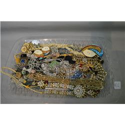 Selection of vintage costume jewellery including diamante and beaded necklaces, earrings etc.