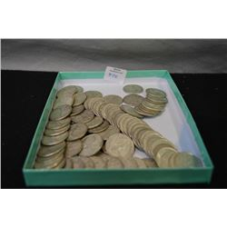 Selection of Canadian quarters 1967 or prior, approximately 80 coins