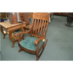Antique quarter cut oak open arm slat back rocking chair with upholstered seat