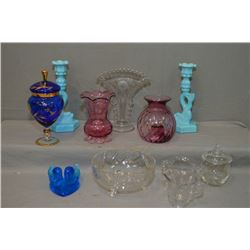Selection of collectible glassware including corn flower crystal vase, lidded sugar and cream, cranb