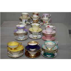 Large selection of collectible tea cups and saucers including Aynsley, Paragon, Queen Anne, Royal Al