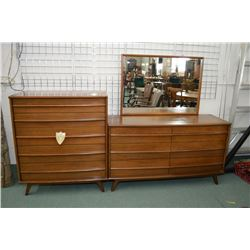 Mahogany mid century modern Gibbard five drawer highboy and six drawer mirrored dresser