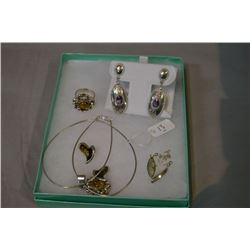 Selection of jewellery including sterling rings, earrings, necklace, ring etc.