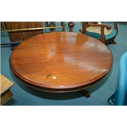 "Large antique mahogany 46"" modified tilt top table repurposed to a coffee table"
