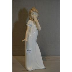 "Nao by Lladro figurine of a young girl ready for bed, 11"" in height"