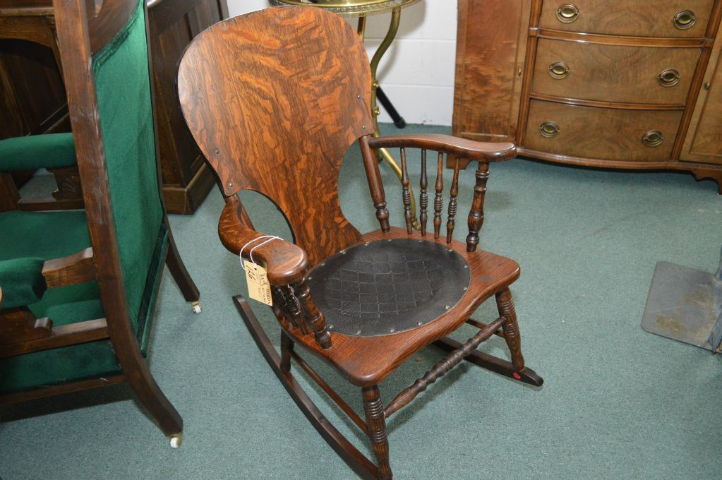 Image 1 : Antique quarter cut oak rocking chair with turned spindle arm  supports and leather - Antique Quarter Cut Oak Rocking Chair With Turned Spindle Arm