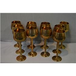 Wooden canteen of nickel bronze flatware for eight and ten bronze goblets