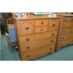 Antique seven drawer pine bedroom chest with backboard and hat drawers