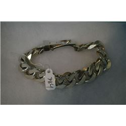 Gent's heavy 925 sterling bracelet with buckle closure
