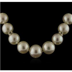 South Sea Cultured Pearl Necklace With 14KT Yellow Gold Diamond Clasp