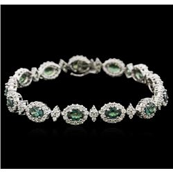 7.80ctw Alexandrite and Diamond Bracelet - 14KT White Gold