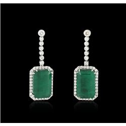 14KT White Gold GIA Certified 30.46ctw Emerald and Diamond Earrings