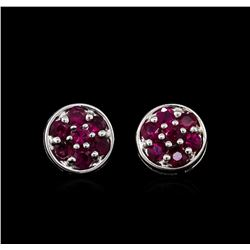 0.70ctw Ruby Earrings - 14KT White Gold