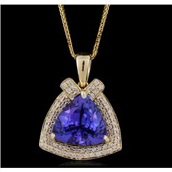 14KT Yellow Gold 6.84ct Tanzanite and Diamond Pendant With Chain