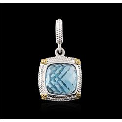 Sterling Silver 11.55ct Topaz and Diamond Pendant
