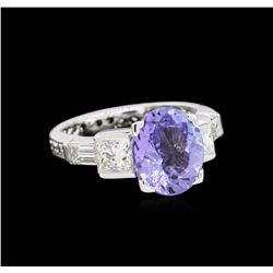 3.26ct Tanzanite and Diamond Ring - Platinum