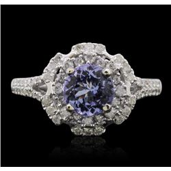 14KT White Gold 1.31ct Tanzanite and Diamond Ring