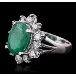 14KT White Gold 3.41ct Emerald and Diamond Ring
