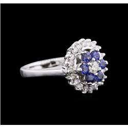 14KT White Gold 0.72ctw Sapphire and Diamond Ring