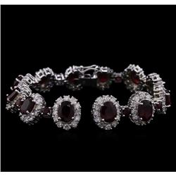 14KT White Gold 20.28ctw Ruby and Diamond Bracelet