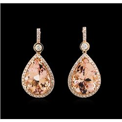 18.58ctw Morganite and Diamond Earrings - 14KT Rose Gold