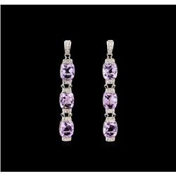 Crayola 15.60ctw Pink Amethyst and White Sapphire Earrings - .925 Silver