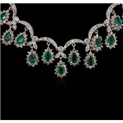 14KT White Gold 6.50ctw Emerald and Diamond Necklace