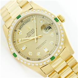 Rolex President 18KT Gold 1.00ctw Diamond And Emerald DayDate Men's Watch