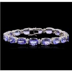 14KT White Gold 22.56ctw Tanzanite and Diamond Bracelet