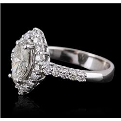 14KT White Gold 1.83ctw Marquise Cut Diamond Ring