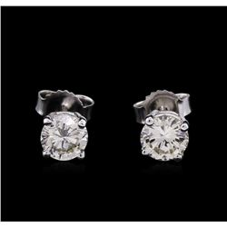 0.82ctw Diamond Solitaire Earrings - 14KT White Gold