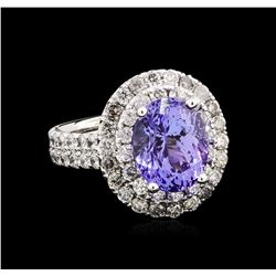 4.55ct Tanzanite and Diamond Ring - 14KT White Gold