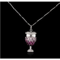 18KT White Gold 0.15ctw Pink Sapphire and Diamond Pendant With Chain