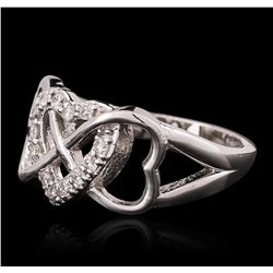 14KT White Gold 0.27ctw Heart Diamond Ring
